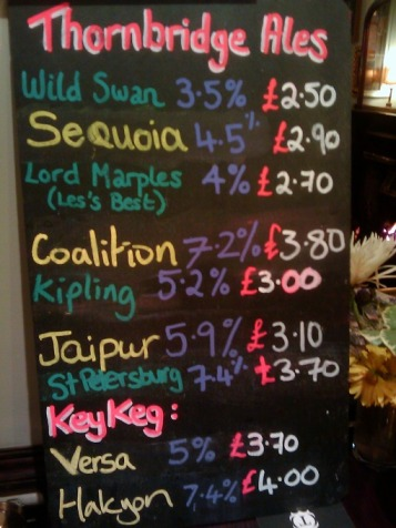 Price list at the Hallamshire